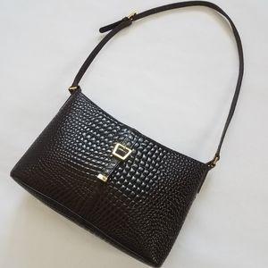Etienne Aigner Croc Embossed Leather Bag Purse